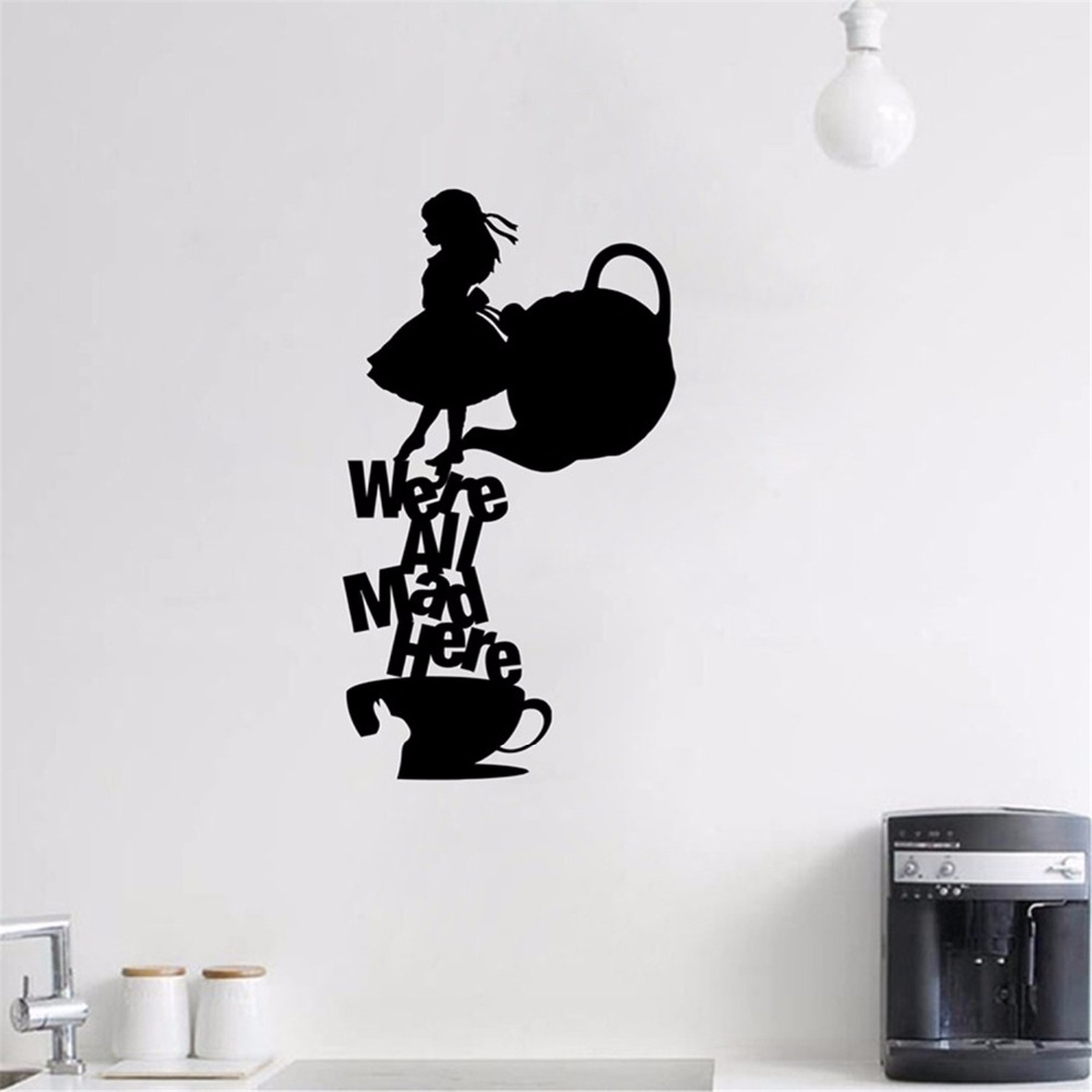 """Alice In Wonderland Wall Decal Quote """"We're All Mad Here ..."""