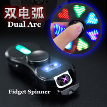 Fidget Spinner Dual Arc Lighter USB Electronic Cigarette Lighter 18 Kind Light Pattern Changeable Windproof Reduce Pressure Tool
