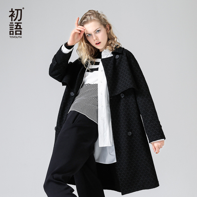 Toyouth estilo británico mujer gabardina Casual Turn-down Collar de manga larga abrigo largo solo Breasted rompevientos con cinturón