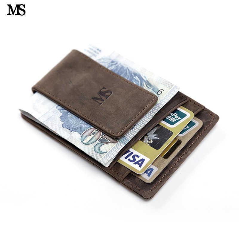 MS HOT ขาย RFID ป้องกันผู้ชายหนังแท้กระเป๋าสตางค์กระเป๋าสตางค์บัตรเครดิตผู้ถือคลิปแม่เหล็กเงินสีน้ำตาล k308