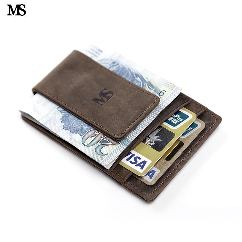 MS Hot Sale Men Äkta Läder Plånbok Business Tillfälligt Kreditkort ID Hållare Med Starkt Magnet Pengar Clip Brown K308