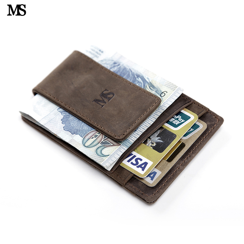 MS Hot Sale Men <font><b>Genuine</b></font> Leather Wallet Business Casual Credit Card ID Holder With Strong Magnet Money <font><b>Clip</b></font> Brown K308