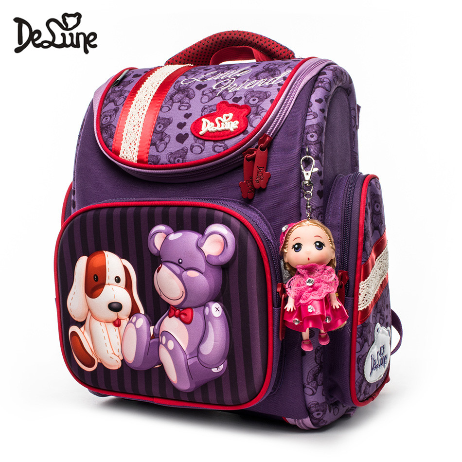 Delune Brand 1-3 Grade Kids Orthopedic School Bags Girls EVA Folded Schoolbag Children Primary School Backpacks Mochila Infantil