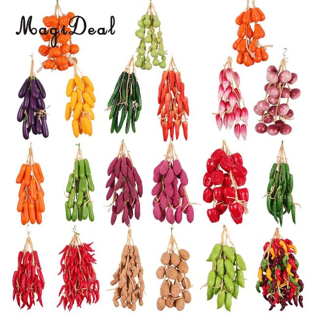 MagiDeal 5Pcs/Lot Artificial Fruits Vegetables Strings Agritainment Farm Hanging  Decor Lifelike Home Wedding Party