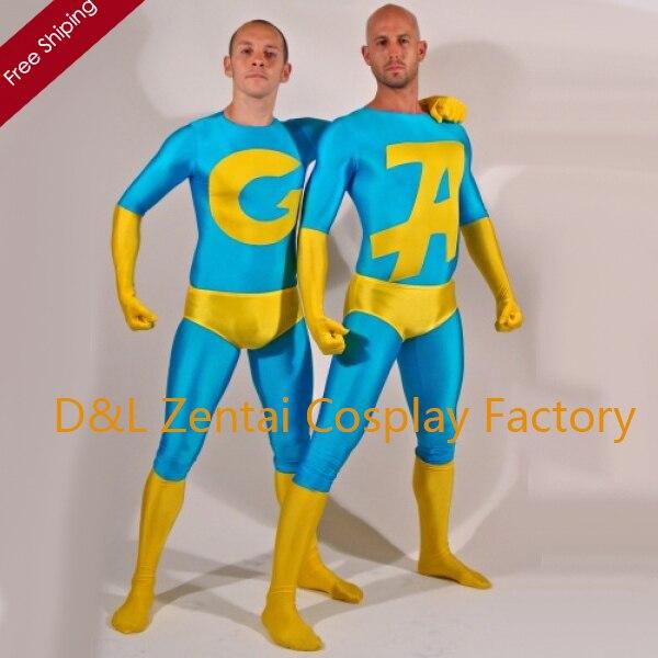 Gratis Verzending Dhl Sexy Blauw En Geel Lycra Spandex Ambiguously Gay Duo Superhero Catsuits Wl102
