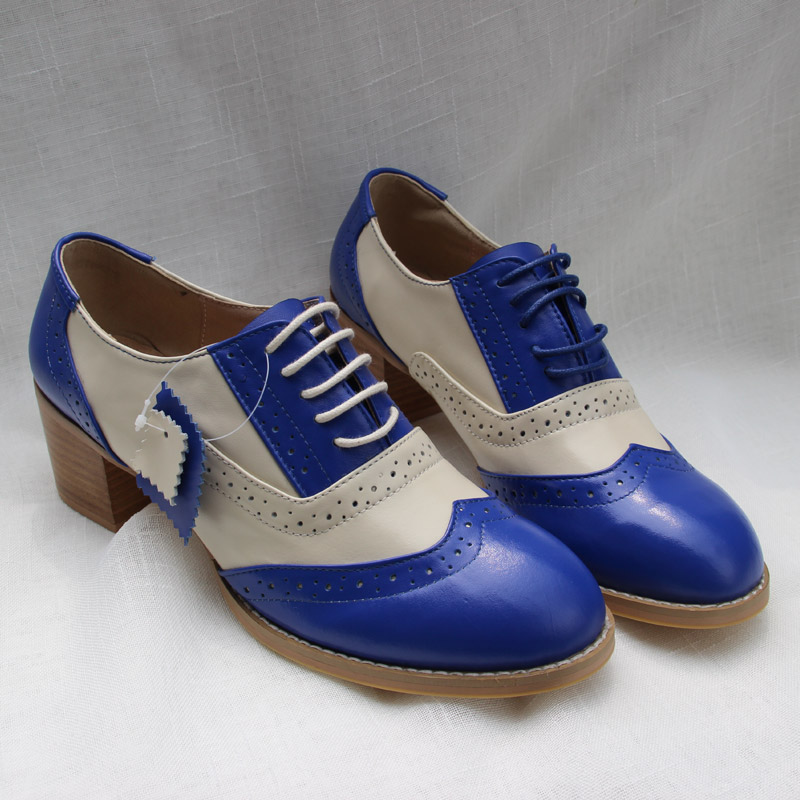 Handmade Bullock Carving British Women s Single Shoes Middle Heel Lace Up Oxford Shoes For Women