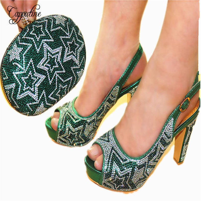Фото Capputine 2018 New Italian Shoes With Matching Bag Set African Green Color Women Pumps Shoes And Bag Set Free Shipping JC602