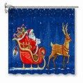 NYAA Weihnachten Santa Claus Moving Auf Die Schlitten Dusche Vorhänge Polyester Stoff Vorhänge Für Wohnkultur