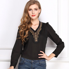 New Women Tops Lady Fashion Solid Black White V-Neck Long Sleeve Rivet Chiffon Blouses Shirts