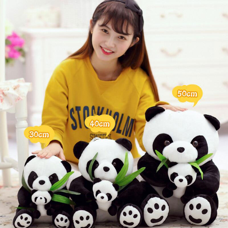 50CM Bamboo Panda Plush Toys Doll Super Cute Mother And Son Panda Doll Paternity Plush Toys To Hold The Bamboo Panda Doll 40cm super cute plush toy panda doll pets panda panda pillow feather cotton as a gift to the children and friends