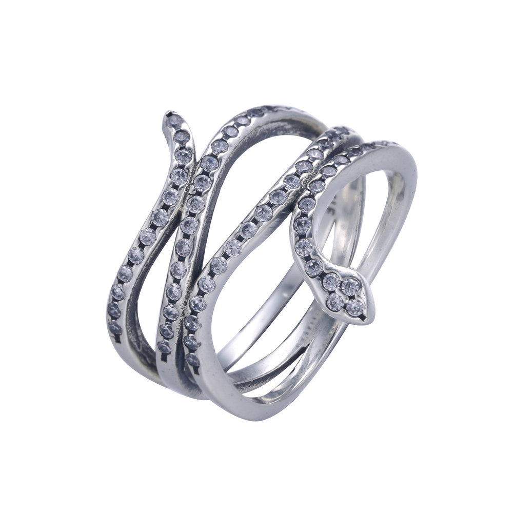 Clear Cz Pave Swirling Snake Silver Ring Wedding Rings For Women European Fits Style Jewelry Diy Animal In From Accessories On