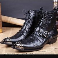 Italian Western botas masculina steel toe shoes male rivets belt combat military ankle boots men black genuine leather chelsea
