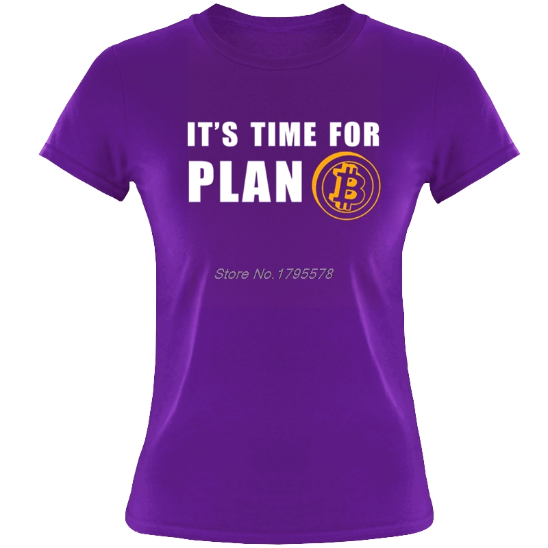 Time For Plan Bitcoin BTC Crypto Currency T Shirt Girl Short Sleeve T-shirts Cotton O-neck Casual Women T-shirt Tees Tops 1