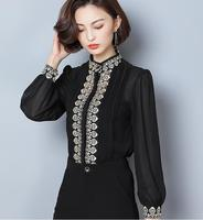 Free Shipping 2018 New Arrival High Quality Embroidery Stand Collar Lacing Lantern Sleeve Woman Chiffon Blouse