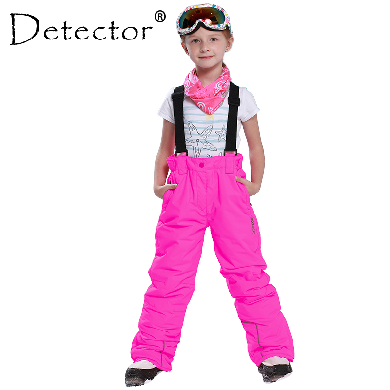 Detector Winter Girls Ski Pants Windproof Overall Pants Tracksuits for Children Waterproof Warm Kids Boys Snow Ski Trousers c4520 brand autumn winter children patchwork keep warm trousers kids boys girls windproof waterproof sport children pants