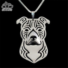 Staffordshire bull terrier necklaces pendants for women men silver/gold color long chain dog pendant male female choker necklace