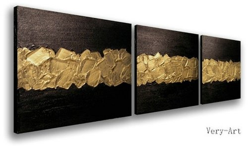Hand Made Acrylic Paint Black Golden Textured Modern Abstract Oil Painting Set 3 Wall Art