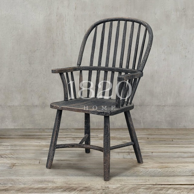 American / French rustic wood armchair / retro black antique Windsor chair  old elm chairs / - American / French Rustic Wood Armchair / Retro Black Antique Windsor