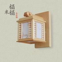 Japanese tatami platform entrance balcony wall lamp aisle lights log Lamps lighting
