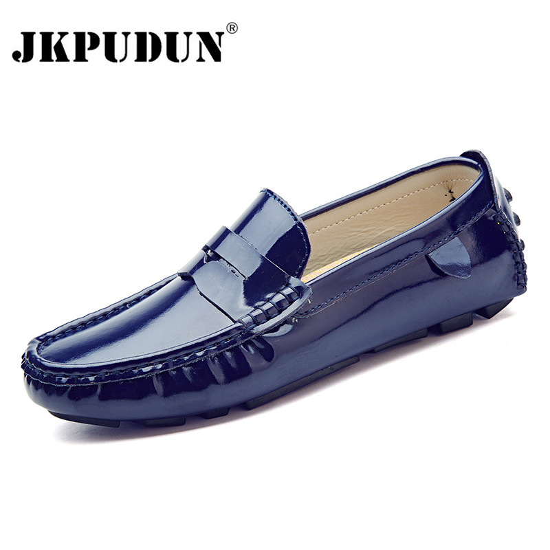 JKPUDUN Men Casual Shoes Luxury Brand 2018 Split Leather Fashion Boat Shoes Men Italian Slip On Loafers Moccasins Zapatos Hombre