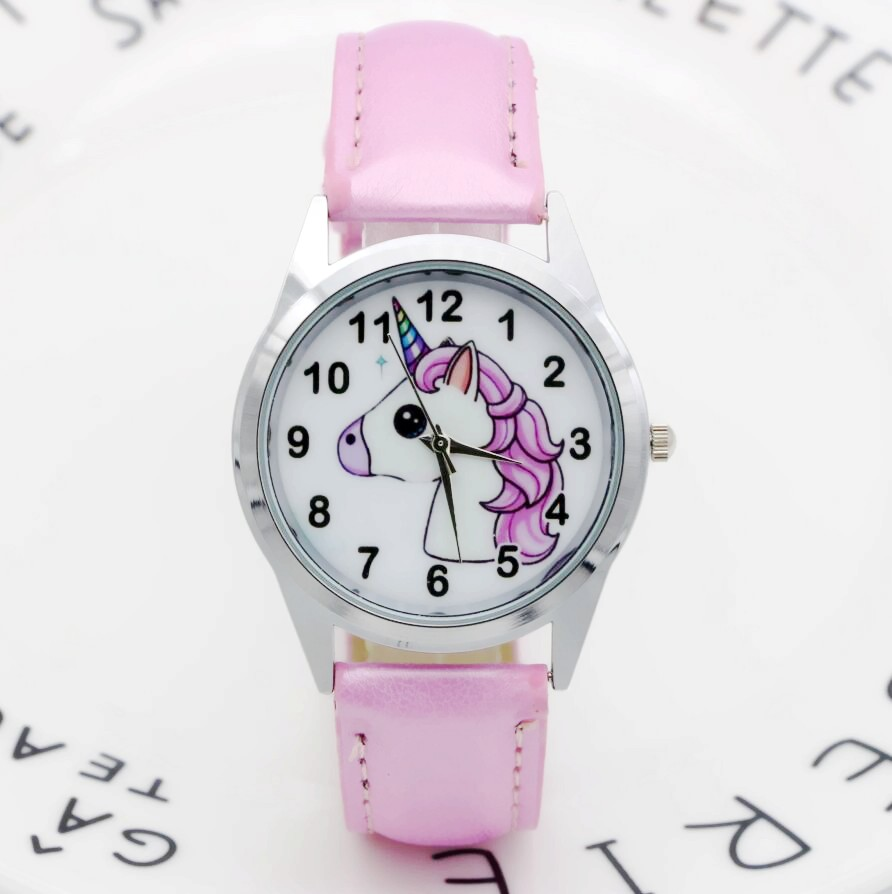 New Fashion Kids Watch Christmas Gift Cute Unicorn Girl's Boy's Children Watch SportS Leather Cartoon Watch