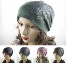 Бесплатная доставка осень и зима шапочки алмазов тюрбан пентакль Cap Skullies хип-хоп чулок для женщин мужчин и капот 4 цветов