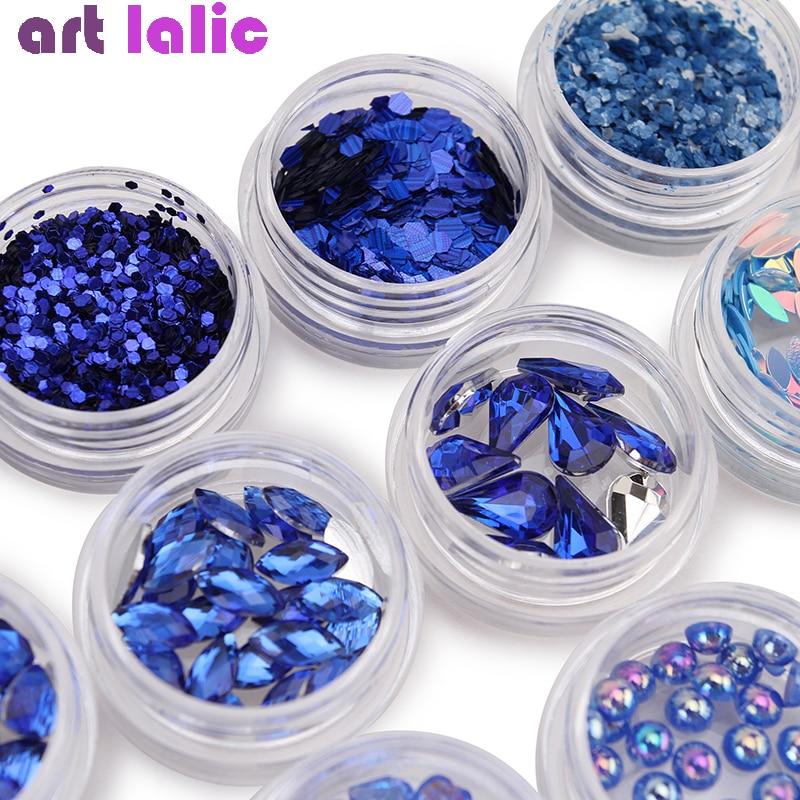 12 Boxes Set Nail Art Rhinestones Royal Blue Heart Star Sequins Beads Shining Nails Glitter Powder Pearl DIY Decoration
