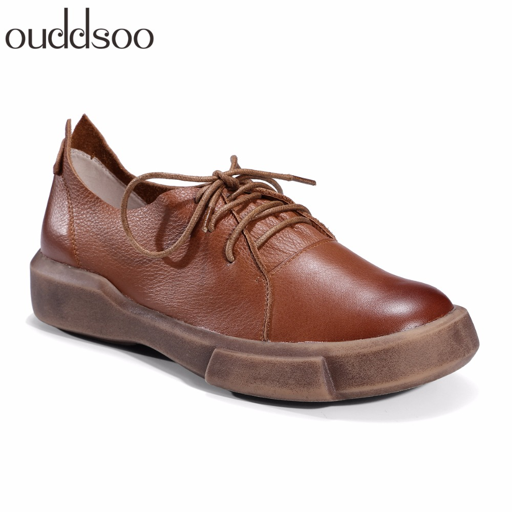 2018 Women Flat Shoes Casual Solid Footwear Fashion Soft Genuine Leather Women Flats Lace Up Pointe Brown Black Comfort Female women flats 2018 new fashion spring women shoes loafers casual soft flat female comfort solid basic ladies flats ybt702