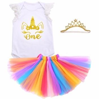 2017 Baby Girl 3PCS Clothing Set Roupa De Bebe Body Suits;Summer Unicorn Baby Clothes Princess Tutu Skirt Baby Birthday Set 0-2Y