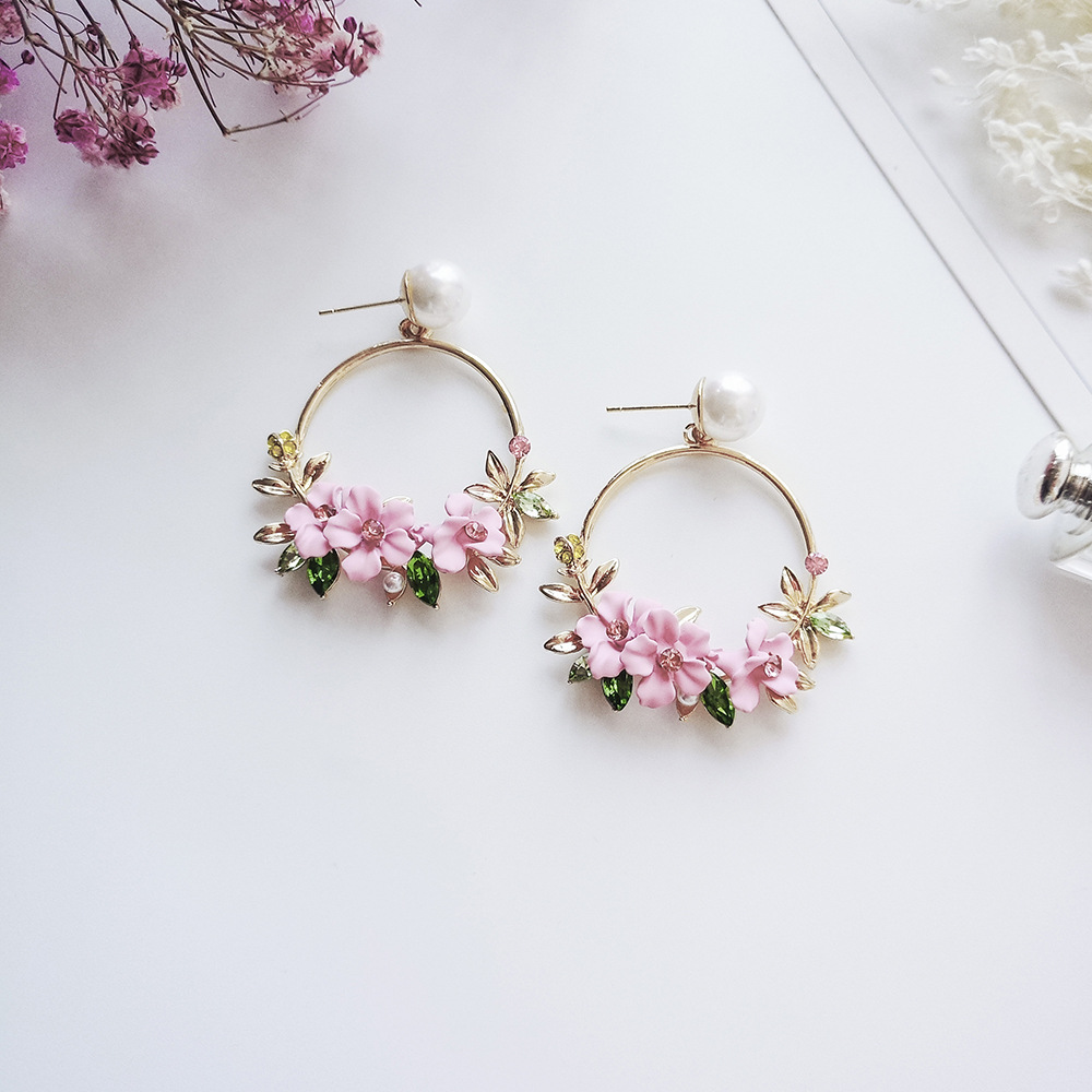 Fashion Fabric Flower Drop Earrings For Women 2018 Statement Colorful Petal Circle Big Fancy Earring Jewelry Oorbellen N02