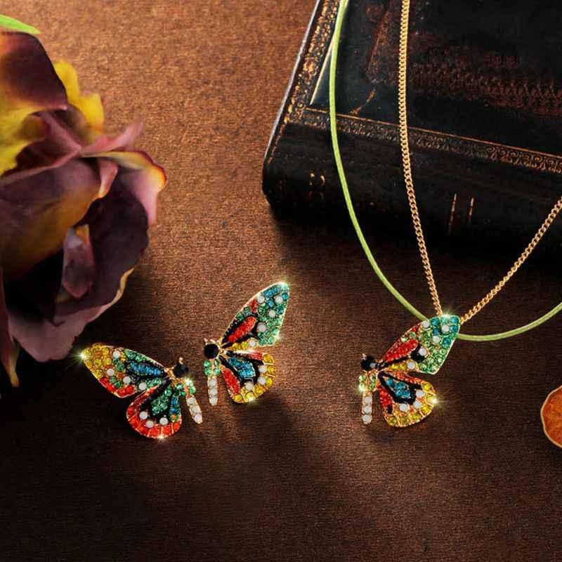 Color Fairy Tale Butterfly Stud Earrings Necklace Hairpin Fashion Jewelry Women