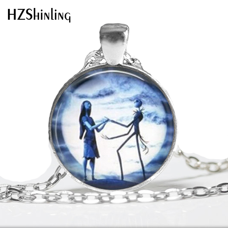 NS-0094 New Fashion Glass Dome Necklace Nightmare Before Christmas Necklace Glass Cabochon Dome Pendant HZ1