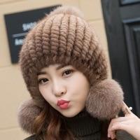 XIANXIANQING Winter Women Solid Mink Fur Hat Female S Fox Fur Ball Cap Thickning Womens Fashion