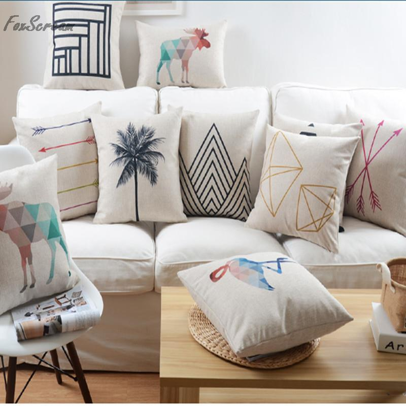 White Couch Pillows Part - 33: Geometric Pillow Black And White,Nordic Style Throw Pillow Case,Linen  Cushion Cover Home