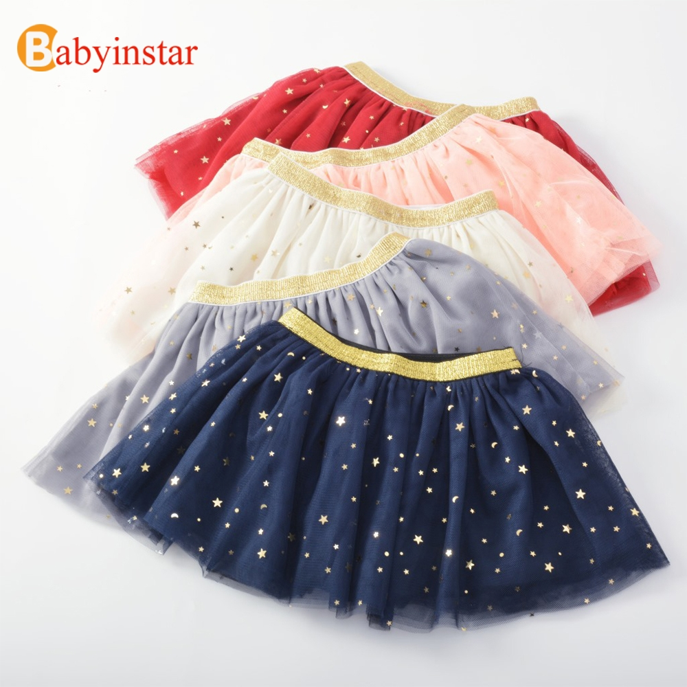 Babyinstar Cute Baby Girls Ball Gown Skirt Children's Clothing Summer Apparel Star Sequins Kids Mesh Skirt