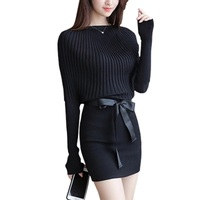 Women Elegant Sweater Knitted Bodycon Dress Winter Autumn Fashion Casual Evening Party Short Dress With