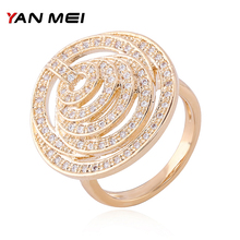 YANMEI Cublic Zircon Multi-layer Rings For Women Crystal Silver/Gold Geometric Anneau Fashion Jewelry Ring Anillo YMJ1836