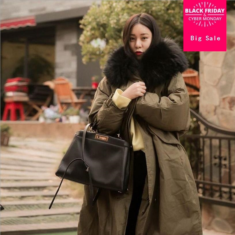 Plus Size Winter Coat Women big Fur Collar Hooded down cotton coat Jacket Thick Warm Padded   Parka   Oversized Military   Parka   L1300