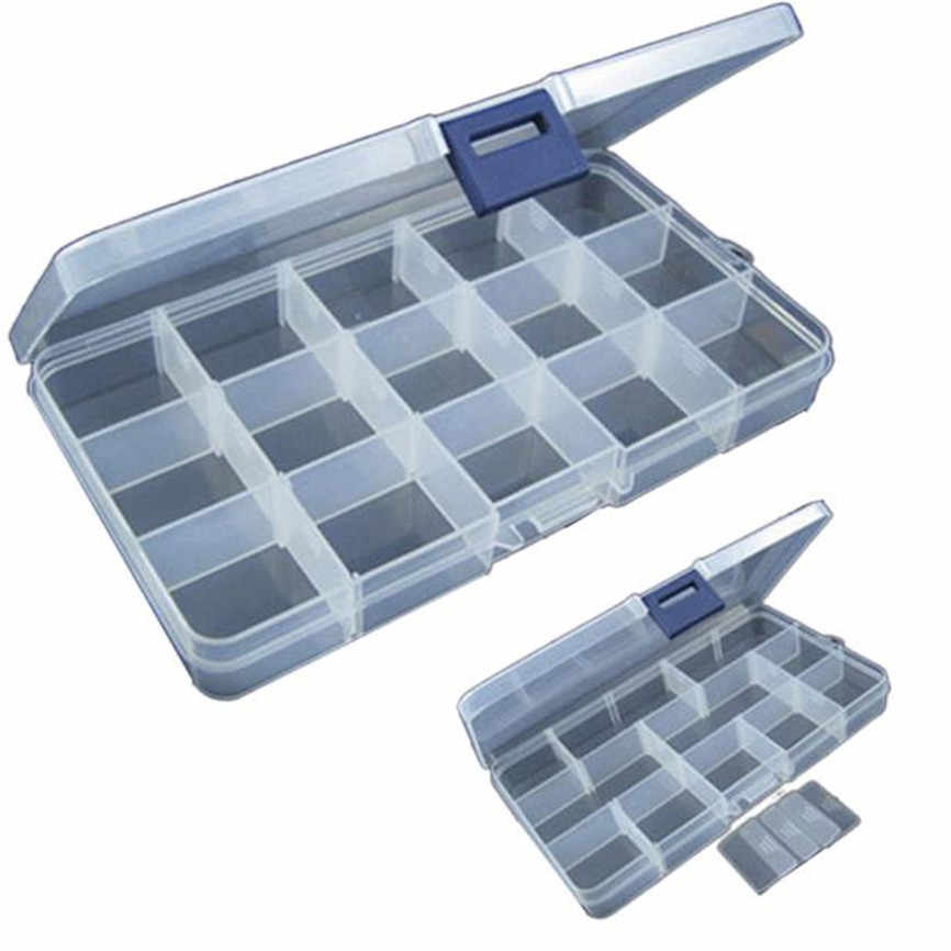 15 Slots Fishing Tackle Box Adjustable Plastic Fishing Lure Hook Tackle Box Storage Case Organizer Casket For Cosmetics