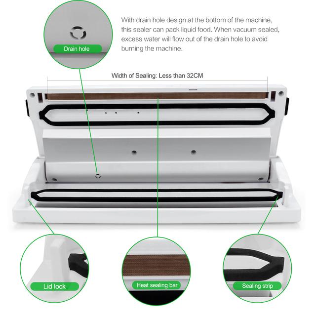 Easehold Automatic Vacuum Sealer Moisture Dry Sealing System Fresh Bulk Food Saver with Bonus Starter Kit