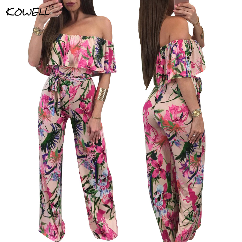 4cc1f3ed13fe Hot Sell Bohemian Palm Print Lace Up Jumpsuits Rompers Off Shoulder Plus  Size Women Jumpsuit Summer Beach Sexy Jumpsuit Overalls-in Jumpsuits from  Women s ...