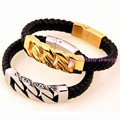 European Style 47g Black Leather Silver/Gold Cuba Link Chain Bracelet 316L Stainless Steel Cycle Men's Cuff Jewelry 21.5cm*11mm