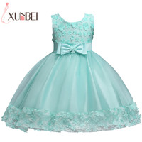 Mint Green Knee Length Flower Girl Dresses 2020 Lace Appliques Sleeveless First Communion Dresses For Girls Kids Evening Gowns