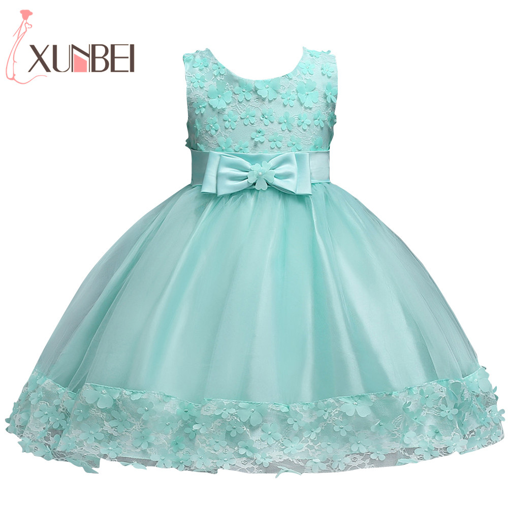 Mint Green Knee Length   Flower     Girl     Dresses   2019 Lace Appliques Sleeveless First Communion   Dresses   For   Girls   Kids Evening Gowns