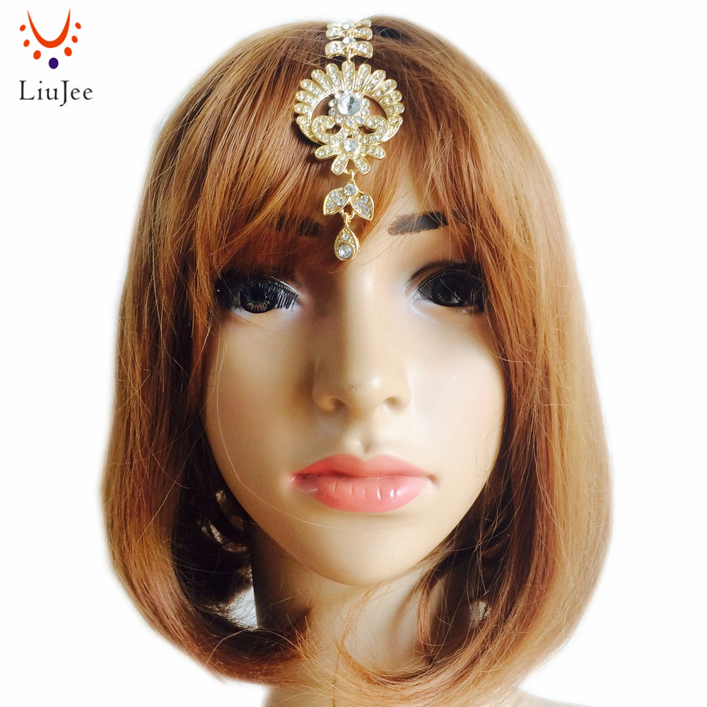 Girls Flower Crystal Drop Hair Clip Tikka Indian Forehead Jewelry Forehead Belly Dance Hair Chains For Women LiuJee KD143