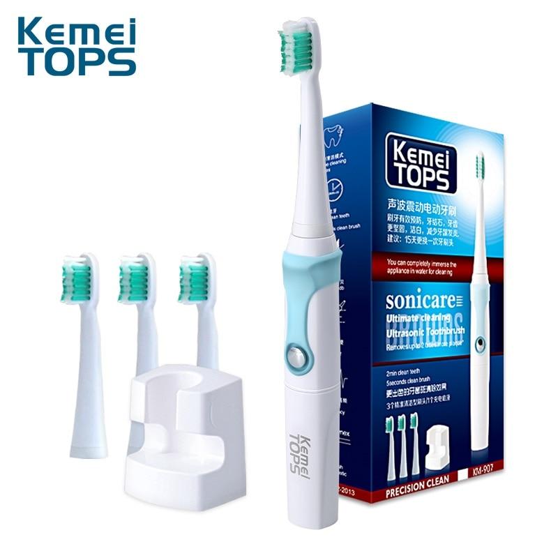 kemei KM-907 Rechargeable Electric Toothbrush Wireless Charge Ultrasonic Sonic Professiona Electric Tooth Brush 4 Heads ultrasonic sonic electric toothbrush rechargeable tooth brushes electric toothbrush with u1 tooth brush heads cepillo dental 4
