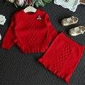 2016 Moda Niños Niñas Ropa de Los Cabritos de Punto Suéter Corto Faldas Trajes de Niña de La Colmena de Tops Ropa
