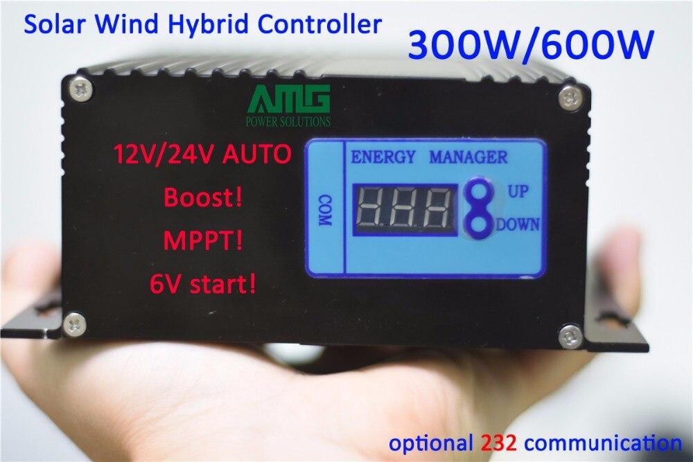 300 W/600 W 12 V/24 V auto swtich reconnaissant solaire vent BOOST booster type MPPT hybride chargeur contrôleur avec 232 communication