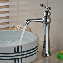 Contemporary Deck Mounted One Handle Mixer Taps for Bathroom Chrome Brass Basin Vessel Sink Faucet