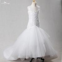 FG53 לבן בנות תחרות שמלות ילדה פרח שמלות מתוקה מחשוף סקסי ללא משענת בת ים עם רכבת ארוכה